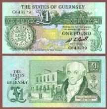 Guernsey 1980-89 1 Pound paper money