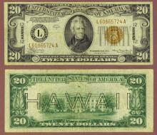"1934-A $20 FR-2305 ""Hawaii"" US small size WW 2 emergency issue"