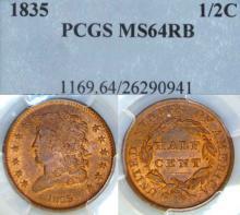 1835 1/2c US Classic Head half cent