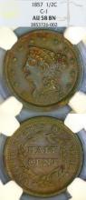 1857 Half Cent US coronet half cent