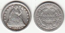 1853 Half Dime Arrows at Date