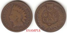 1886 1c Type 2 Indian Head Penny, Indian head cent