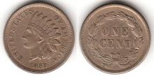 1859 Indian Cent one year type coin, Indian head penny