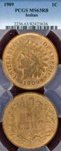 1909 1c US Indian cent PCGS MS 63 RB