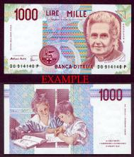 1990-94 1000 Lira collectable paper money Italy