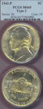 1942-P 5c Type 2 Silver Nickel PCGS Mint State-65