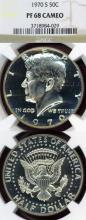 "1970-S 50c Proof 68 ""Cameo"" US silver Kennedy half dollar"