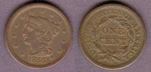 1856 1c US large cent