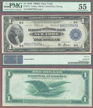 1918 $1.00 FR-712 Large US Federal Reserve Bank Note PMG About Uncirculated 55