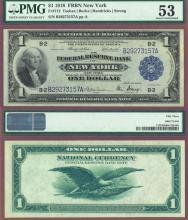 1918 $1.00 FR-712 New York US large size Federal reserve bank note Green Eagle PMG AU 53