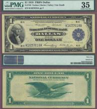 1918 $1.00 FR-740 Dallas US large size federal reserve bank notes PMG 35