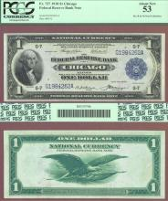 1918 $1.00 FR-727 Chicago US large size federal reserve bank note PCGS AU 53
