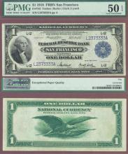 1918 $1.00 FR-743 San Francisco US large size fedral reserve bank note PMG About Uncirculated 50