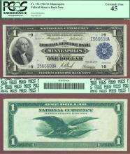 1918 $1.00 FR-734 Minneapolis US Large size federal reserve bank note green eagle PCGS Extremely Fine 45