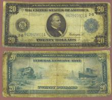 1914 $20.00 FR-971 US large size federal reserve note