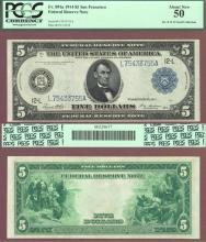1914 $5 FR-891a San Francisco US large size federal reserve note