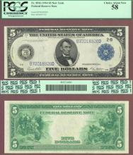 1914 $5.00 FR-851b New York US large size federal reserve note PCGS AU 58
