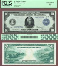 1914 $10.00 FR-944 Dallas US large size federal reserve note PCGS Choice About Uncirculated 55