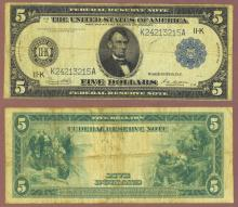 1914 $5.00 FR-887-A Dallas District US large size federal reserve note