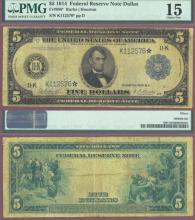1914 $5.00 FR-886* Dallas *STAR* PMG Choice Fine 15