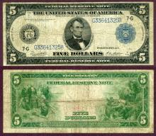 1914 $5.00 FR-871a Chicago US large size federal reserve note