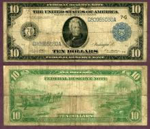 1914 $10.00 FR-931b Chicago US large size federal reserve large note