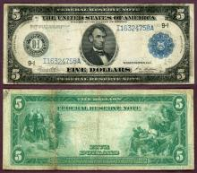 1914 $5.00 FR-879a Minneapolis US large size federal reserve note
