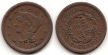 1854 1c Roteted Reverse US Large Cent