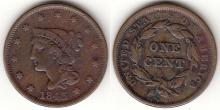 1843 1c US large cent
