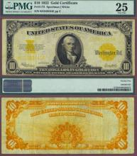 1922 $10 FR-1173 US large size gold certificate PMG Very Fine 25