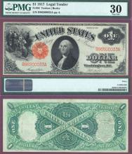 1917 $1.00 FR-36 PMG Very Fine 30 US Large Size Legal Tender Note