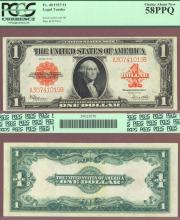 1923 $1.00 FR-40 US Large size Legal Tender red seal note PCGS Choice About New 58 PPQ
