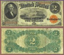 1917 $2.00 FR-60 US Large Size Legal Tender note. Speelman/White