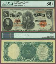 1907 $5.00 FR-83 US large  size legal tender note red seal
