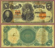 1907 $5.00 FR-91 US large size legal tender red seal
