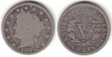 1885 5c US Liberty nickel Key date V nickel