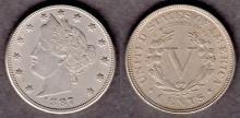 1887 5c US Liberty Head nickel five cent piece