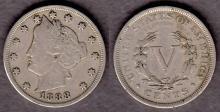 1888 5c US Liberty Head Nickel five cent piece