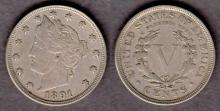 1891 5c US Liberty Head Nickel five cent piece