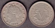 1899 5c US Libery V nicklels