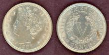1907 5c AU+ US Liberty V nickel