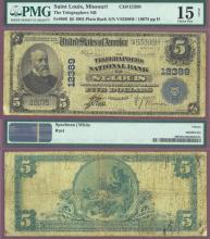 1902 Plain Back Missouri - $5.00 FR-609 US large size national bank note