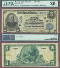 1902 Date Back MISSOURI - $5.00 FR-591 Charter 3456 US large size national bank note