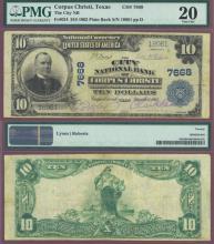 1902 Plain Back TEXAS - $10.00 FR-624 Charter 7668 US large size national bank note