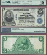 New York $5 1902 Plain Back New York - FR-606 Charter 2370 US large size national bank note PMG EF 40 EPQ