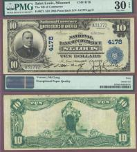 MISSOURI $10 1902 Plain Back St. Louis - FR-627 Charter 4178 US large size national bank note PMG VF 30
