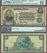 California $5 1902 Plain Back San Francisco - FR-606 Charter 5105 US large size national bank note PMG Choice Fine 15