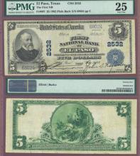 TEXAS $5 1902 Plain Back El Paso - FR-607 Charter 2532 US large size national bank note PMG Very Fine 25