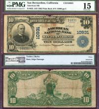 California San Bernardino $10 1902 Plain Back - FR-632 Charter 10931 PMG Choice Fine 15