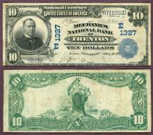 1902 Plain Back NEW JERSEY - $10 FR-624 Charter 1327 US large size national bank note